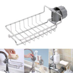 New Stainless Steel Faucet Storage Racks Adjustable Sink Rag Sponge Draining Rack Kitchen Bathroom Soap Storage Holders Shelves